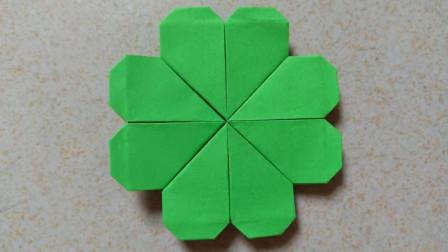 手工折纸:四叶草怎么折?折法很简单,只需要四颗爱心就能折好