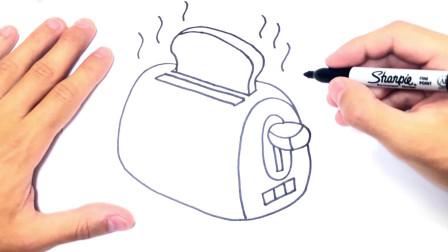 儿童简笔画;如何逐步和轻松地绘制烤面包机,面包片