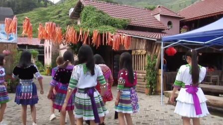 越南沙坝景区苗族姑娘舞蹈实拍,舞跳的好服装也很有特色