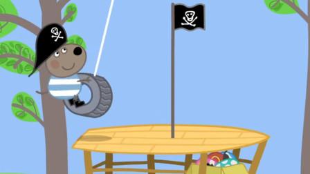 小狗丹尼有一个海盗小窝,他喜欢在这里玩耍假扮海盗 简笔画