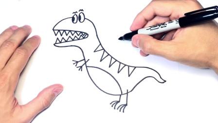 儿童简笔画;如何逐步绘制一个简单的恐龙
