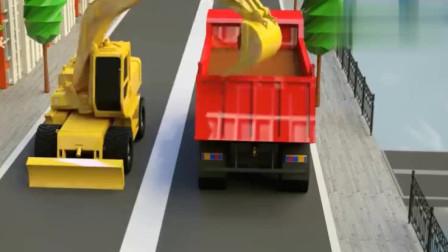 汽车动漫  挖掘机翻斗车水泥搅拌车压路机一起修路