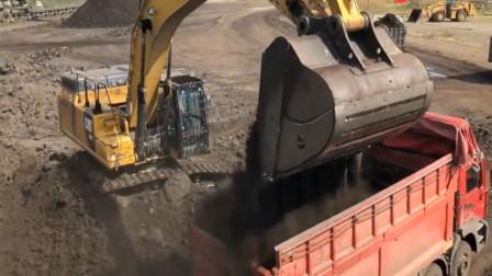 趣味益智动画 工程车卡车挖掘机在工地工作