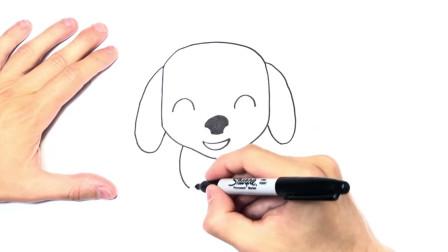 儿童简笔画;如何逐步绘制卡哇伊小狗,轻松