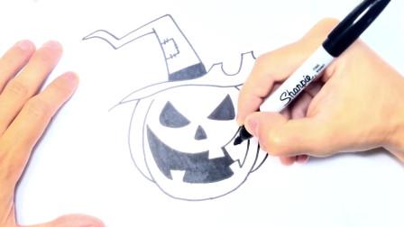 儿童简笔画;如何逐步绘制万圣节南瓜和简单