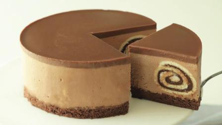 一分钟教你做巧克力起司蛋糕,切开之后,里面才是满满的惊喜!
