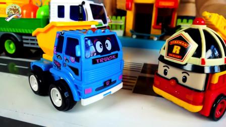 儿童卡通垃圾清理车,清障车和小汽车玩具
