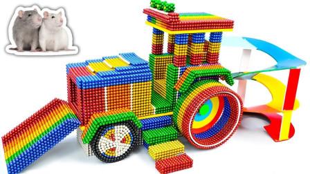 达人用磁球给仓鼠制作了带有滚轴模型的游乐场,小仓鼠可开心了