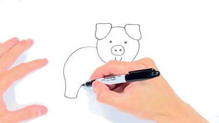 儿童简笔画;如何逐步绘制猪和简单的动物图纸