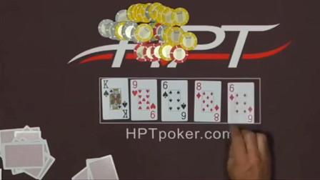 德州扑克:没法玩了,对手起手三条,小伙不弃牌,只能祈求拿顺子了