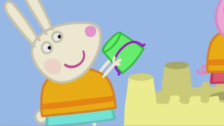儿童简笔画:小兔瑞贝卡也将水桶拿起,她负责城堡的一端