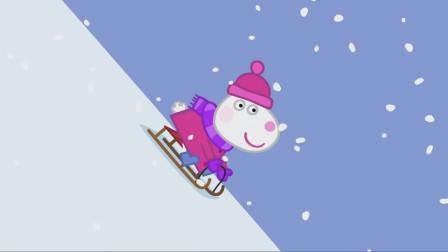 儿童简笔画:小羊苏西乘坐着雪橇车从雪山右侧迅速下滑