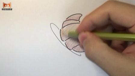 儿童简笔画:油炸香酥牛角面包