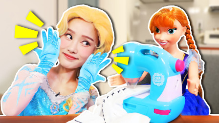 艾莎手套弄丢了?给艾莎制作一双新的手套!手工游戏DIY-基尼