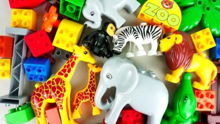 彩色积木玩具为小动物拼搭出游乐园