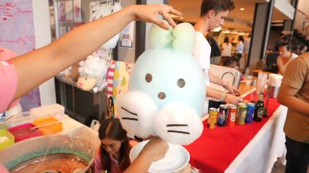 国外街头的爆款小吃:卡通棉花糖!颜值超高,看了做法我却不敢吃