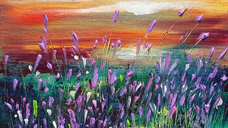 手工绘画教程,漂亮薰衣草的简单画法,看一遍就学会了!