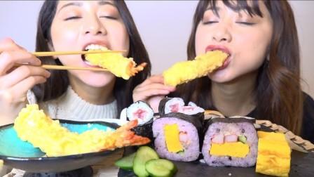 日本小姐姐吃播:品味寿司和天妇罗,声控不说话