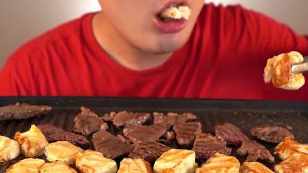 大胃王:韩国胖哥,吃烤牛肉和烤芝士,发出咀嚼声,吃得美滋滋!