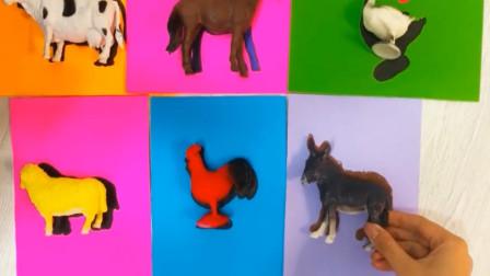 动物世界 给小鸭小鸡小绵羊小牛小马找到相对应影子图案 动物玩具