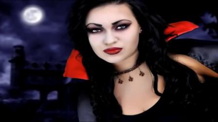 美妆博主美妆秀,将自己化妆打扮成了吸血鬼,妖治魅惑