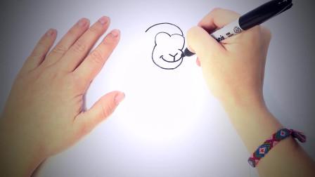 儿童简笔画:如何一步一步地画猴子_猴子画课 简笔画教学视频