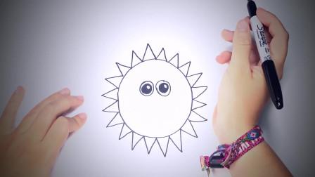 儿童简笔画:如何一步一步地画太阳_太阳画课 简笔画教学视频