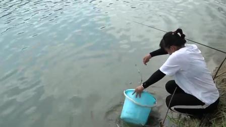 农村阿姨第一次用海竿野钓,没想到这种技术竟然也能钓上大货
