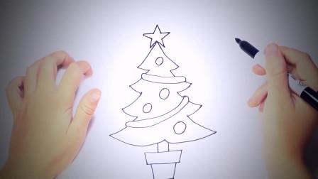 儿童简笔画:如何一步一步地绘制圣诞树 简笔画教学视频