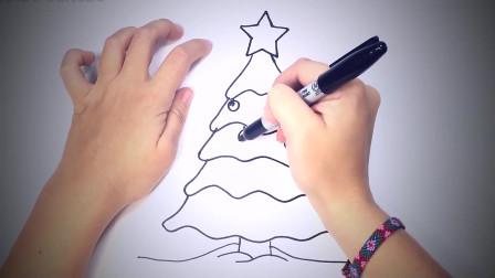 儿童简笔画:如何一步一步地绘制圣诞树_简单图纸 简笔画教学视频