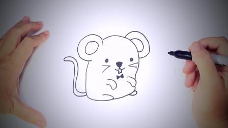 儿童简笔画:如何一步一步地绘制Kawaii鼠标_绘制课程 简笔画教学视频