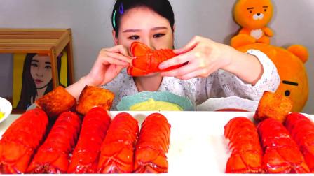 韩国大胃王卡妹,试吃特色大虾尾,蘸着酱吃真过瘾