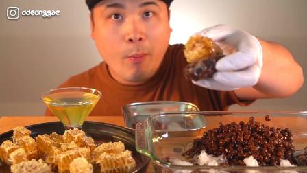 韩国大胃王胖哥,吃小珍珠喝蜂巢,两个一起吃真香甜啊