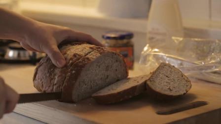 《韩国农村美食》全麦面包煎香,配上爽脆的蔬菜,营养又好吃
