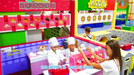 萌娃小可爱开甜品店卖蛋糕啦,小家伙做的蛋糕漂亮又美味,萌娃:快来尝尝吧!