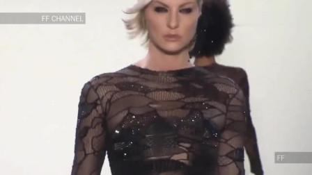 时装秀:第一次见这么亮眼的设计,全身的黑纱面料,足以成为全场的焦点