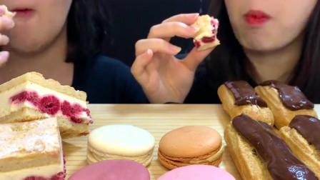 美女试吃经典法式甜点组合,这简直是甜品爱好者的盛宴