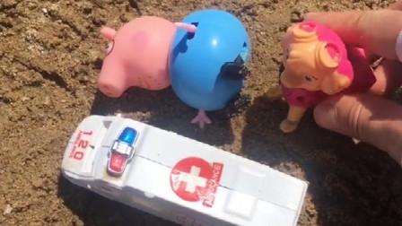 猪爸爸晕倒了,天天把他送到了救护车上,猪爸爸说他是吃多了
