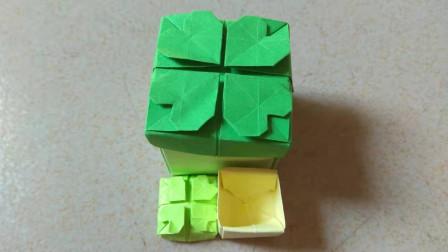 手工折纸:用纸折个四叶草盒子,既是礼盒也是收纳盒,实用又好看