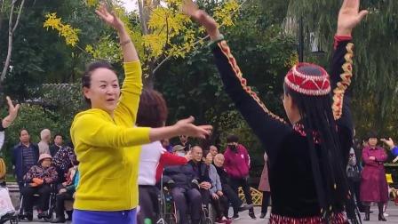 常好老师与团友广场好看共舞民族舞蹈