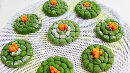 绿色健康的菠菜小花卷,好看又好吃,简单又营养小孩特喜欢!