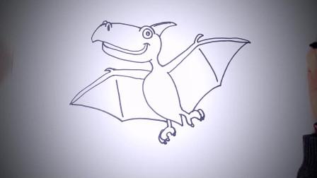 儿童简笔画:如何一步一步绘制飞行的恐龙_制图教程 简笔画教学视频