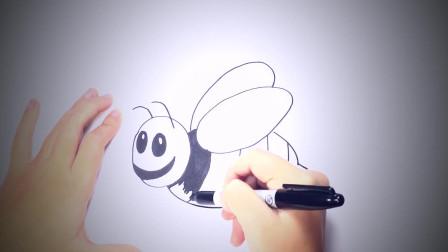 儿童简笔画:如何一步一步绘制蜜蜂_蜜蜂绘制课程 简笔画教学视频