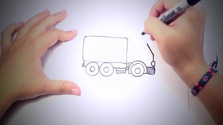 儿童简笔画:如何一步步绘制卡车_卡车绘制课程 简笔画教学视频
