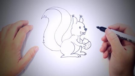 儿童简笔画:如何一步步绘制花栗鼠_花栗鼠绘画课 简笔画教学视频