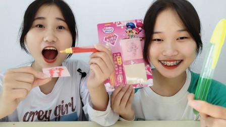 """俩女孩试吃""""DIY果汁果酱糖"""",画出乌龟飘果香,能玩能吃味超酸"""