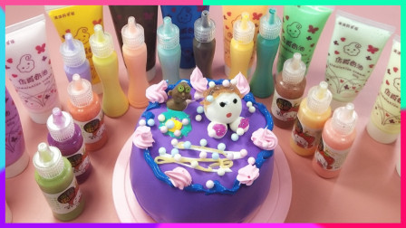 灵犀小乐园之美食小能手 DIY一个紫色纸黏土蛋糕
