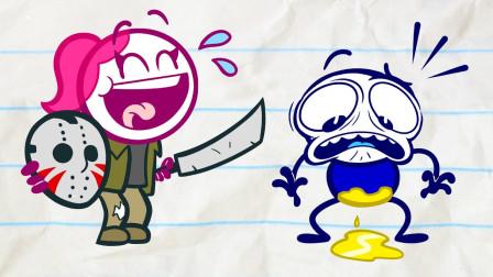 搞笑铅笔画小人:恐怖的林中小屋每间房子都有小怪兽?