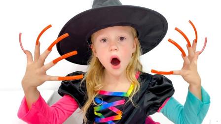 太奇怪!萌宝小萝莉怎么要到万圣节糖果?可是吃完为何指甲变长?儿童亲子趣味游戏玩具故事