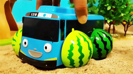 用西瓜轮子组装玩具汽车卡车